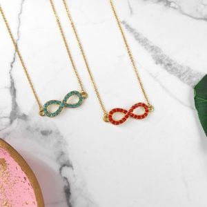 New Rhinestone Gold Infinity Necklace